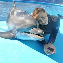 dolphin therapy specialist Martina Shaforost, photo